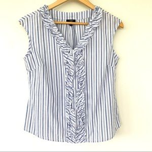 Talbots 💯 cotton top with ruffle trim